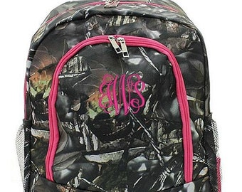 Monogrammed Backpack Personalized Natural Camo Hot Pink Backpack Personalized Backpack Kids Backpack Girls Backpack Boys Backpack