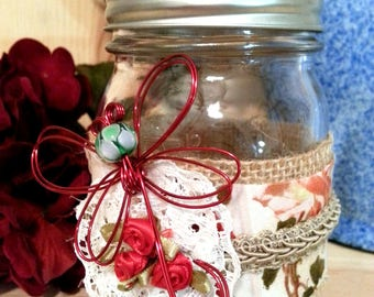 Red Butterfly Decorated Mason Jar, Decorative, Home Decor, French Country Shabby Chic Decor, Spring Decor, Burlap and Lace, Red Roses