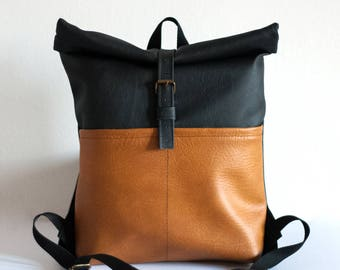 Light brown - black eco leather rolltop backpack for cycling