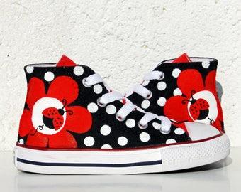 LADYBUG, Custom Sneakers, Handpainted Shoes, Sunflower Converse, Custom Converse, Sneakers, Painted Converse, Sunflower sneakers