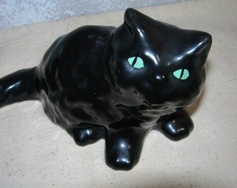 Retro Black Cat Green Eyes Ceramic Figurine