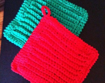 Hot Pads Red, Green, Potholders, Crochet, Kitchen Accessories