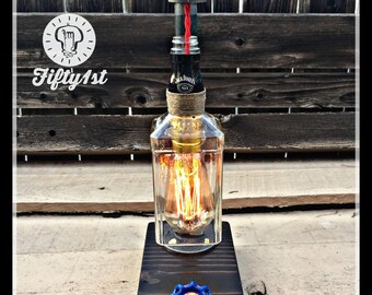"""Industrial Table Lamp """"Jack"""", Up-cycled Table Lamp, Reclaimed wood lamp"""