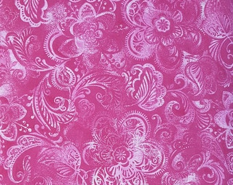 """Rich Pink large modern flower print 108"""" wide back 100% cotton fabric"""