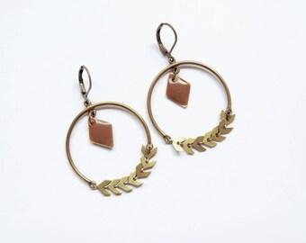 boucles d'oreilles - Lauriers (marron)