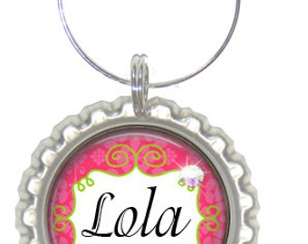 Set of 6 - PERSONALIZED WINE CHARMS - Girly Pink Lime - Perfect For  Bachelorette Party Favors, Wedding Favor, and Parties