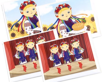 4 Pack of Cards- Ukrainian Folk Dancing & Ukrainian American Girl Blank Greeting Card - Illustration by Adrianna Bamber