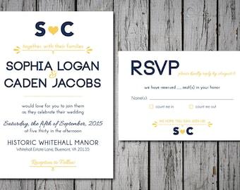 Rustic Printable Wedding Invitation Set, Navy and Yellow, Custom Colors, Digital File, DIY