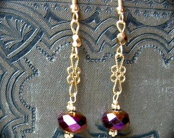 Brass Plum Earrings handmade gift