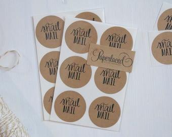 12 Rustic Kraft Snail Mail Stickers, Kraft Stickers, Envelope Stickers, Rustic Stickers, Pen Pal Stickers, Rustic Gift Wrap, Gift Packaging