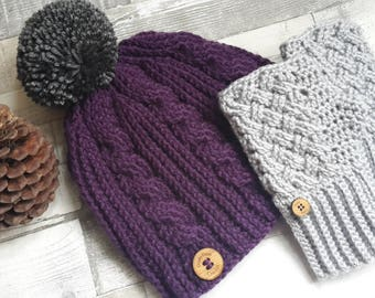 Pom pom Hat, Crochet Cable Hat, crochet Hat, Bobble Hat, Crochet Winter Hat, Womens Hats, Winter Hat, Gifts for Women, Gifts for Her