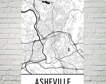 Travel Map Housewarming Map Asheville NC Art Print