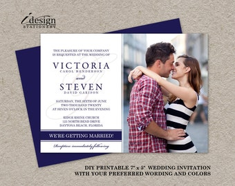 Photo Wedding Invitation, Photo Wedding Invites, Printable Photo Wedding Invitations, DIY Photo Wedding Invites