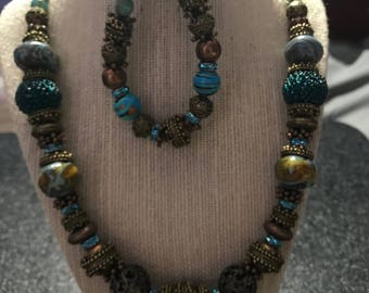 Copper and Turquoise Vintage Jewelry Set