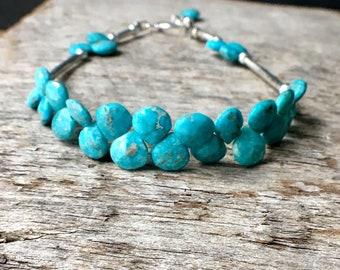 Sleeping Beauty Turquoise Bracelet, Turquoise Sterling Silver Bracelet, Turquoise Briolette Bracelet