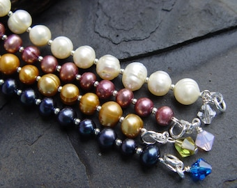 Your Choice Gold OR Blue Freshwater Pearl Bracelets with Sterling Silver