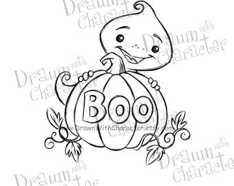 Ghost with Pumpkin Digital Stamp/ KopyKake Image- F13-GHOSTBOO