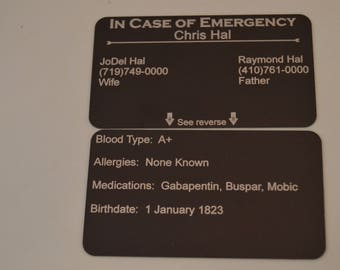 In Case of Emergency Wallet Card! ICE! Medical wallet insert