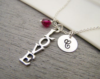 Love Charm Swarovski Birthstone Initial Personalized Sterling Silver Necklace / Gift for Her