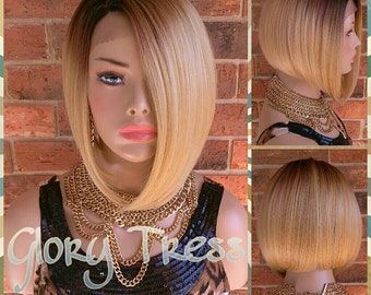 ON SALE // Celebrity Inspired Short Bob Wig, Ombre Golden Platinum Blonde Wig, Straight Bob Lace Front Wig // AWESOME (Free Shipping)