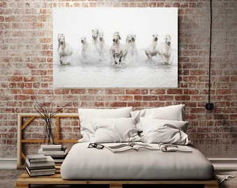 "White Horses, Wall Art Canvas, Canvas Art, Large Wall Art, Horse Art Large Canvas, White Wall Decor, Minimalist Bedroom Decor ""Power of 10"""