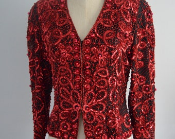 Vintage 80s Red Sequins Glam Disco Metallic Evening Bulfigther Jacket M