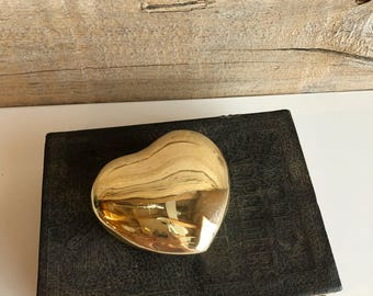 Small brass heart shaped box. Brass container with lid.