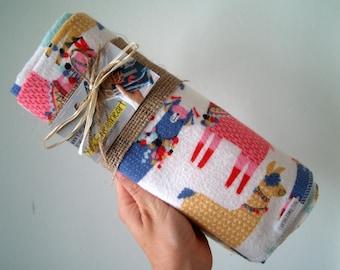 Extra Large Llama Flannel Receiving Blanket- Swaddle Blanket- Baby Shower- Nursery- Navy Blue- Boy- Girl-Mint- Pink- Purple