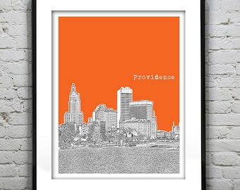 Providence Poster Rhode Island Skyline Art Print RI Item T1226