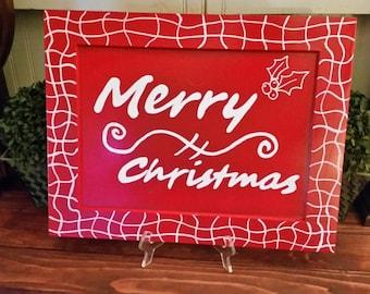 Handmade Christmas Sign, Merry Christmas Sign, Wooden Christmas Sign, Christmas Sign, Christmas Decoration, Holiday Sign