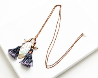 Mother of Pearl Necklace, Shell Necklace, Beaded Necklace, Tassel Necklace, Gift For Girlfriend, Bridesmaid Gift, Gemstone Necklace