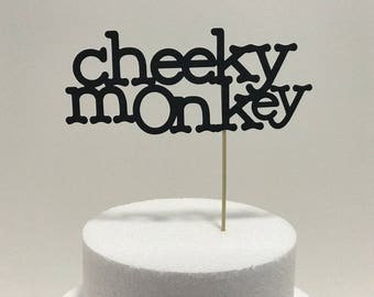 Cheeky Monkey cardstock cake topper