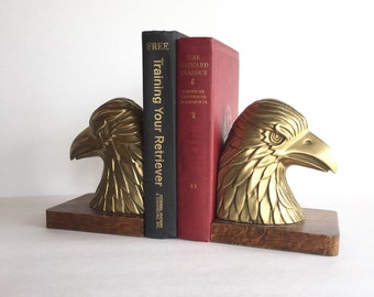 S A L E   Vintage Brass and Wood Eagle Bookends