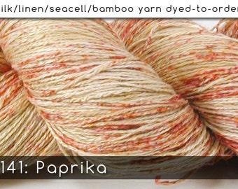 DtO 141: Paprika on Silk/Linen/SeaSilk/Bamboo Yarn Custom Dyed-to-Order
