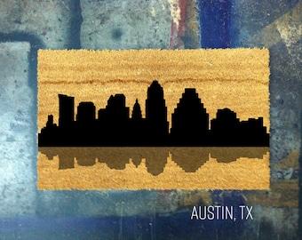 Austin, Texas Skyline Door Mat - Hand Painted