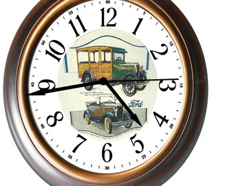 """New """"1930 Ford Model A Gold Clock""""  Featuring a Woody Station Wagon & an Open Roadster"""