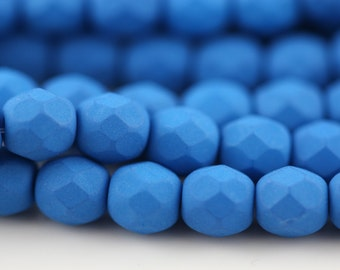 25 Neon Electric Blue, 6mm Faceted Round Czech Glass Fire Polished Beads FP-6M-16