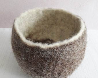 Felted bowl - brown felt bowl - felted vessel - catch all - natural colours - British Wool gift