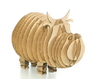 Cow 3D Cardboard Puzzle,3D Puzzle Game,Cardboard Puzzle,Cardboard Toy,Cardboard Game,Eco Accessory,Eco Present