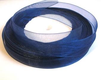 10 m 10mm dark blue organza Ribbon