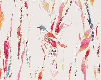 Dark Pink Bird Upholstery Fabric - Orange Pink Fabric with Bird Design - Custom Abstract Curtains Roman Shades - Orange Blue Pillow Covers