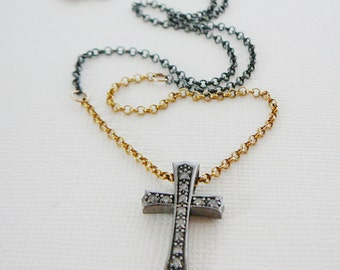 """Diamond Cross Pendant Necklace, Sterling Silver 18"""" 14kt Gold Filled, Genuine Diamonds, Pave Antiqued"""