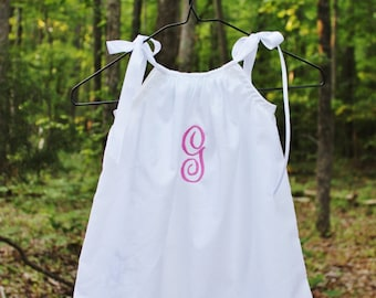 Monogrammed white pillowcase dress coming home outfit  size preemie newborn 0-3 3-6 6-12 months 2t 3t 4t 5 6 personalized coming home outfit