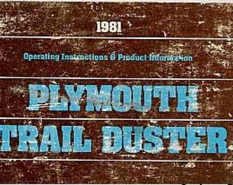 1987 Plymouth Trail Duster Owner's Manual 81-326-1014