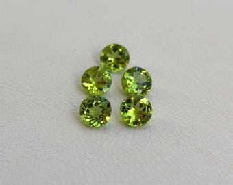 7mm Light green Peridot loose round gemstone Natural stones for jewelry Calibrated gemstones for earrings