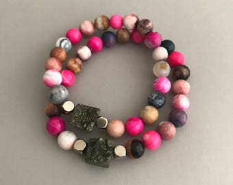 Rainbow Gold Nugget Bracelet, Pyrite Bracelet, Neon Bracelet, Gemstone Bracelet