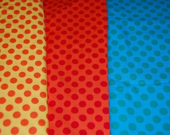 Michael Miller Ta Dot Blue Green Polka Dot Fabric 1 yard Out of Print Hard to Find