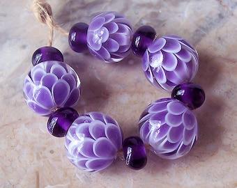 Violet Chrysanthemum Handmade Lampwork Bead Set. Flower Blossom Lampwork Beads. Purple Lotus Lampwork Bead Set. Made to order.