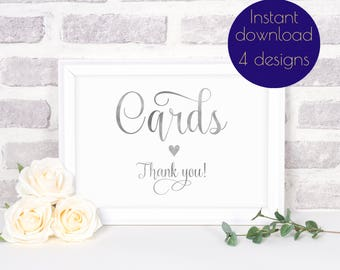 Wedding cards sign, wedding card box, card box sign, card sign, gold sign, wedding sign printable, silver wedding, cards sign, #ELISE