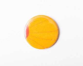 Orange Petals - A Pocket Mirror made from Vintage Fabric, 58mm 2.3 Inches, Vintage Floral Fabric